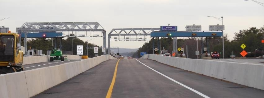 The new highway-speed toll lane in New Gloucester, shown near the end of the construction phase before signs were put up.