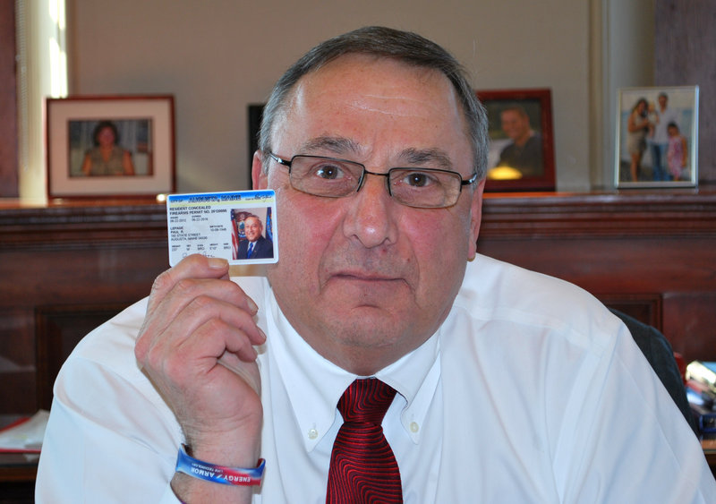 Gov. Paul LePage displays his concealed-carry permit in a photo posted to his Twitter account on Thursday, Feb. 14, 2013. Legislators will consider a bill to block access to personal information about people who hold concealed-weapons permits.