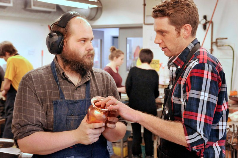 Jeffrey Clancy, right, with Maine College of Art student Zach Nelson.