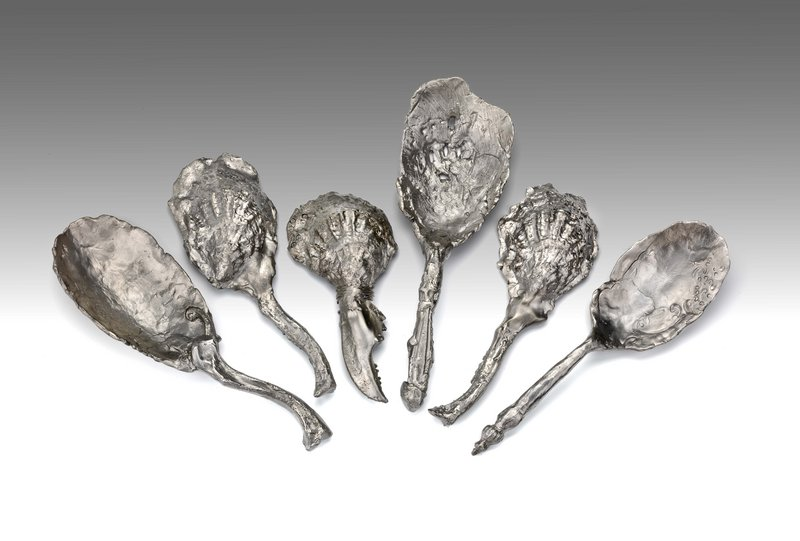 "Jeffrey Clancy makes pieces that riff on functional tabletop objects, like these spoons. ""The way he renders them is the opposite of practical,"" says Daniel Fuller, director of the Institute of Contemporary Art at MECA."