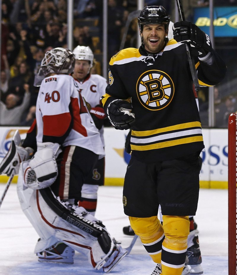 Boston winger Nathan Horton celebrates his second-period goal against the Ottawa Senators Thursday night in Boston. The Bruins won in overtime, 2-1.