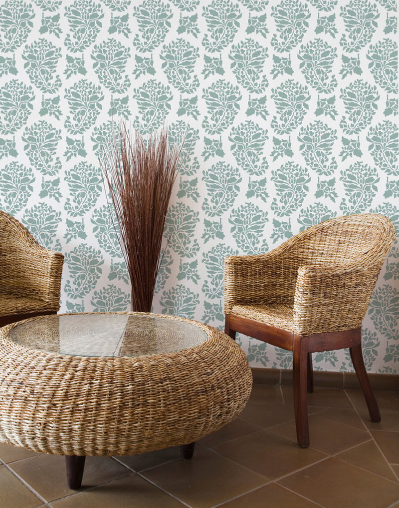 Covering an entire wall with this Indian print stencil is more statement than accent. Stencil by Royal Design Studio.