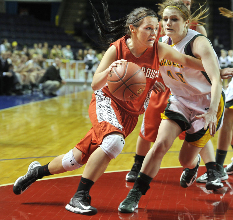 Scarborough senior Mary Redmond maneuvers around Jaclyn Welch of McAuley during their semifinal game last month. Redmond, who transferred to Scarborough before her junior year, became the team's leading scorer.