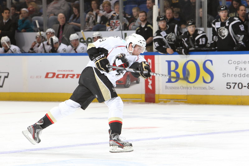 Brian Dumoulin, who played three years for Biddeford High, has four goals for Wilkes-Barre/Scranton as a rookie. His team will meet the Pirates in Portland on Saturday night.