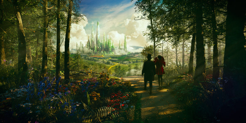 Oscar Diggs (James Franco) and the witch Theodora (Mila Kunis) travel the yellow brick road on their way to the Emerald City.