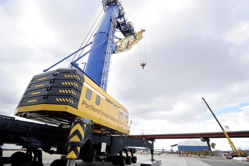 A large crane will gear up at the International Marine Terminal in Portland in a few days as Icelandic Steamship Co. prepares to begin direct container service between Portland and Europe. The first Eimskip cargo-carrying ship is scheduled to arrive later this month.