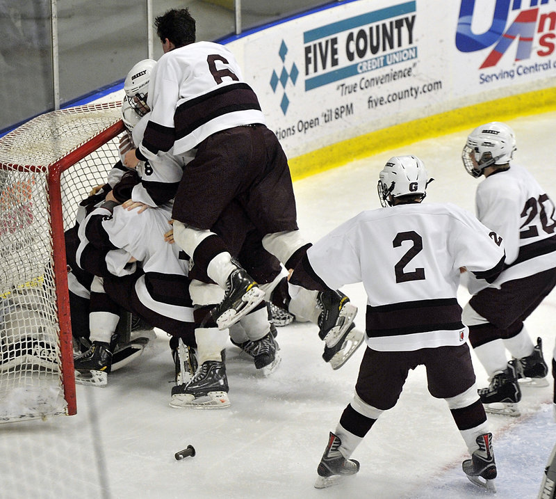 And when it was over … Greely stormed the net and goalie Kyle Kramlich after repeating as the state champion in Class B with the victory over Messalonskee. The Rangers also defeated Messalonskee in last season's championship game.