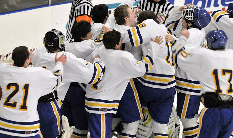 The celebration was a long time coming for the Falmouth's boys' hockey team, which claimed its first state championship Saturday night with a 4-0 victory over Lewiston in the Class A final at the Colisee in Lewiston.