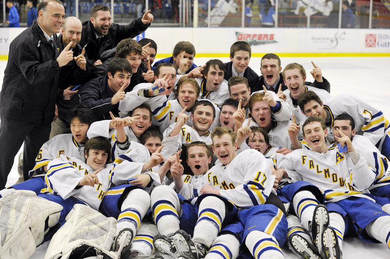 The only time the Falmouth High hockey team was ever down Saturday was after the game … on the ice … celebrating a 4-0 victory against Lewiston that gave the Yachtsmen the first Class A state championship in the program's history.