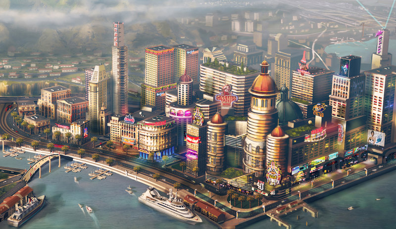In this file image provided by Electronic Arts/Maxis, concept art for a waterfront city is shown for the video game