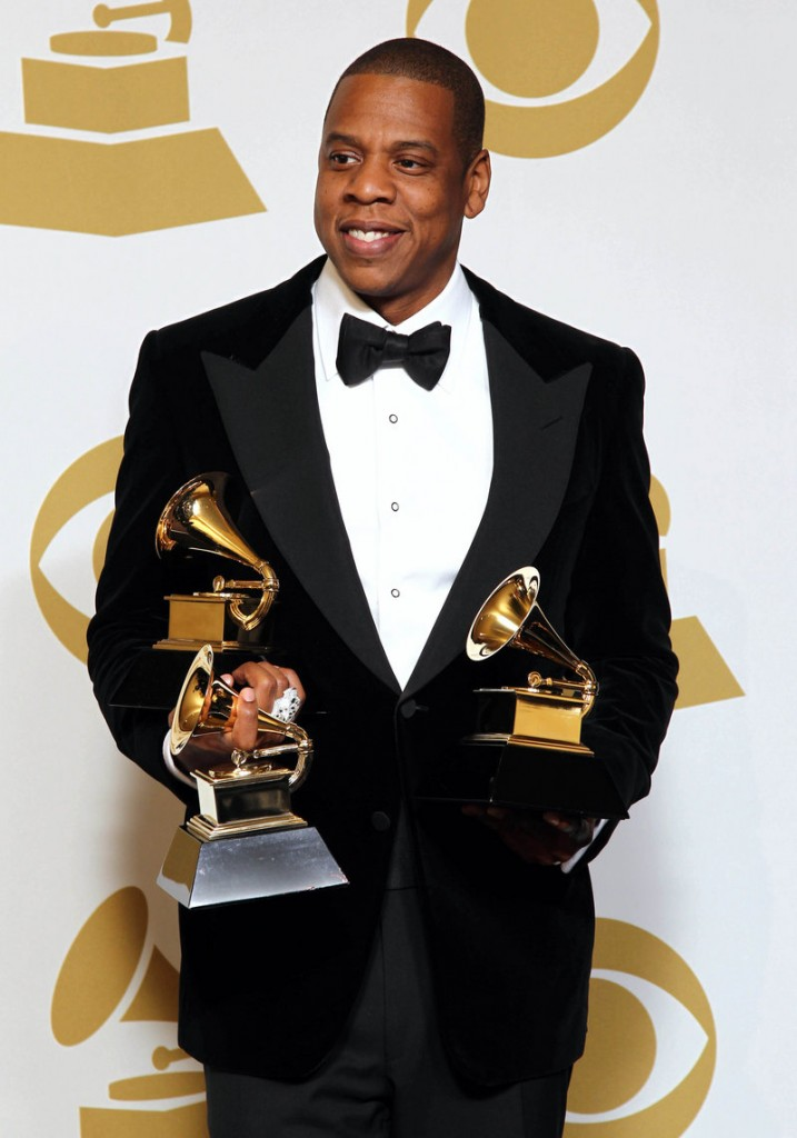 Jay-Z, seen at the Grammys in this Feb. 10 file photo, is among 11 celebrities and government officials whose private financial information appears to have been posted online by a site that began garnering attention on Monday.