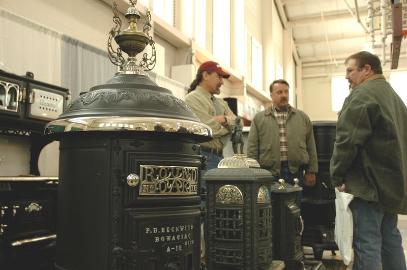 David Erickson of Erickson's Antique Stoves in Littleton, Mass., showcases restored antique stoves at the 2007 show.