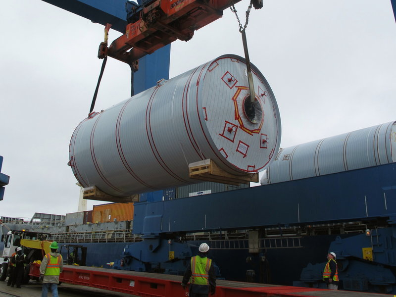 A beer brewing tank arrives at the port in Charleston, S.C., on Tuesday, one of 28 shipped from Germany for a new Sierra Nevada brewery near Asheville, N.C.