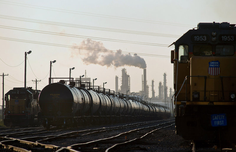 Rail tanker cars, like these in Corpus Christi, Texas, are being used to ship crude oil, making huge profits for railroads, as the White House ponders the fate of the Keystone XL pipeline. Shipments jumped 256 percent in 2012.
