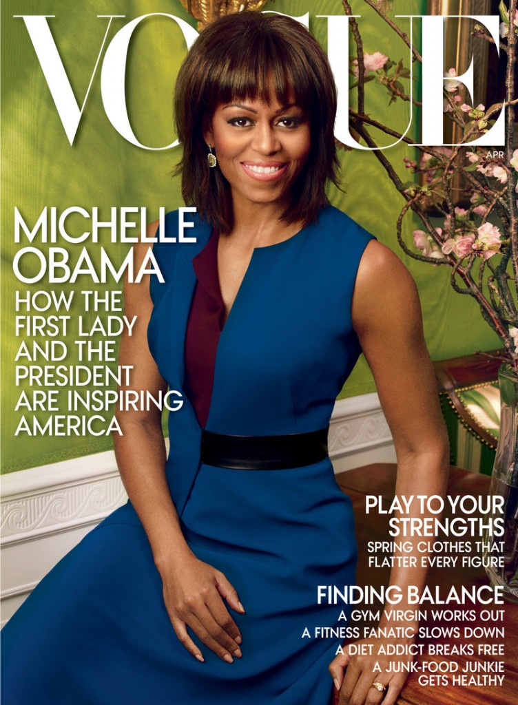 First lady Michelle Obama appears on the cover of the April 2013 issue of Vogue, available on March 26.