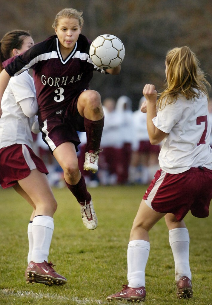 Burns plays for Gorham High in a 1-0 win over Bangor for the Class A soccer state title in 2005.