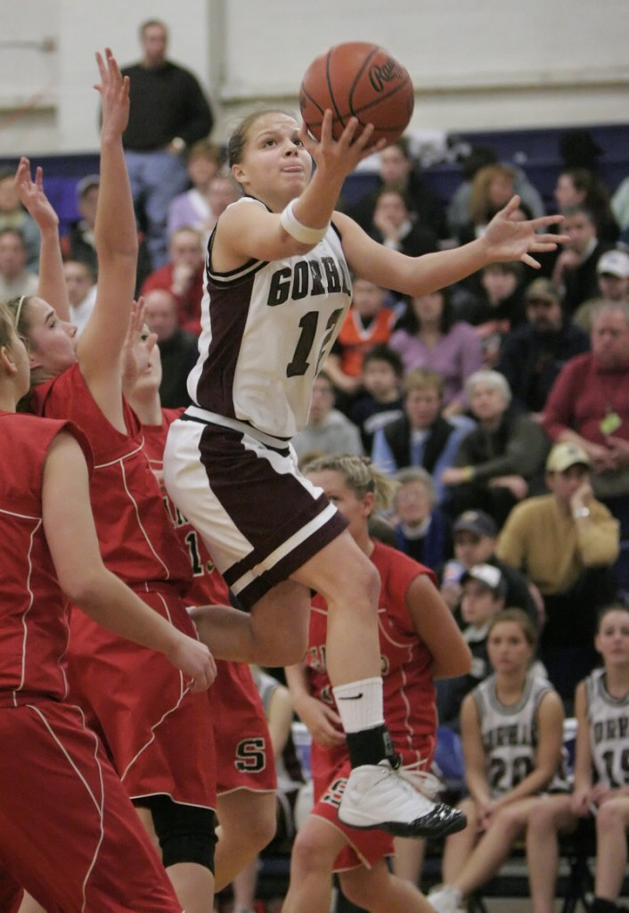 Burns drives to the basket as Gorham plays in the Western Class A tourney in 2007.
