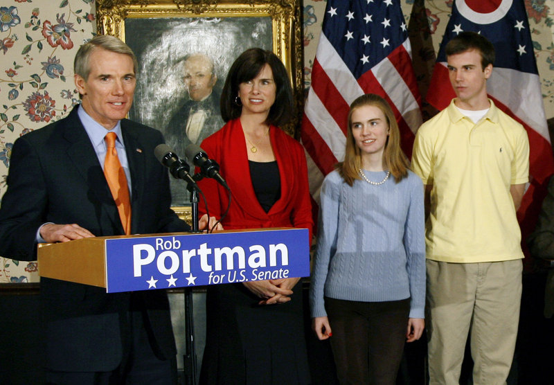 Republican Sen. Rob Portman of Ohio, shown in January with wife, Jane, daughter Sally and son Will, has announced his support for same-sex marriage after learning Will is gay.