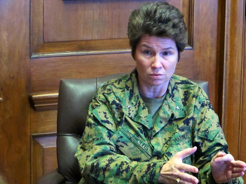 Marine Brig. Gen. Loretta Reynolds gives an interview at the Marine Corps Training Depot on Parris Island, S.C.