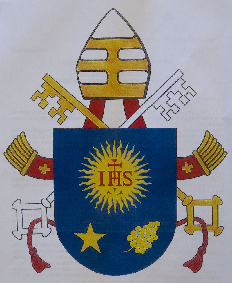 The new coat of arms for Pope Francis mixes his Argentine past with his Roman present.