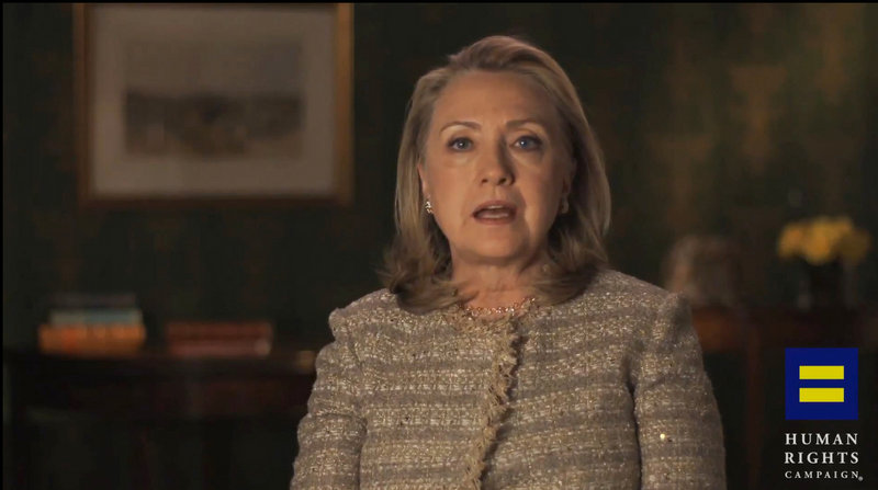This image from video, provided by the Human Rights Campaign, shows former Secretary of State Hillary Rodham Clinton announcing her support for gay marriage.