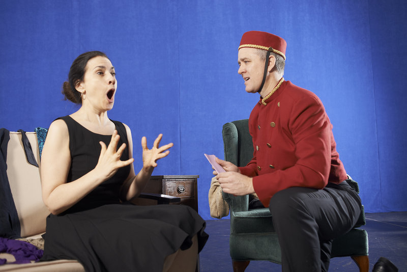 """Abigail Killeen and Torsten Hillhouse in Portland Stage Company's """"Love/Sick."""" The world premiere of John Cariani's play opens with previews Tuesday."""