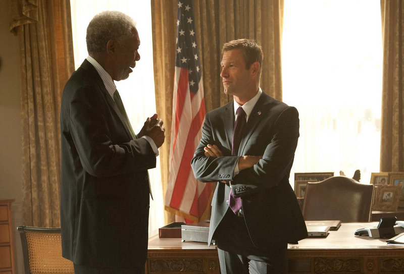 "Morgan Freeman and Aaron Eckhart in a scene from the White House hostage thriller ""Olympus Has Fallen."""