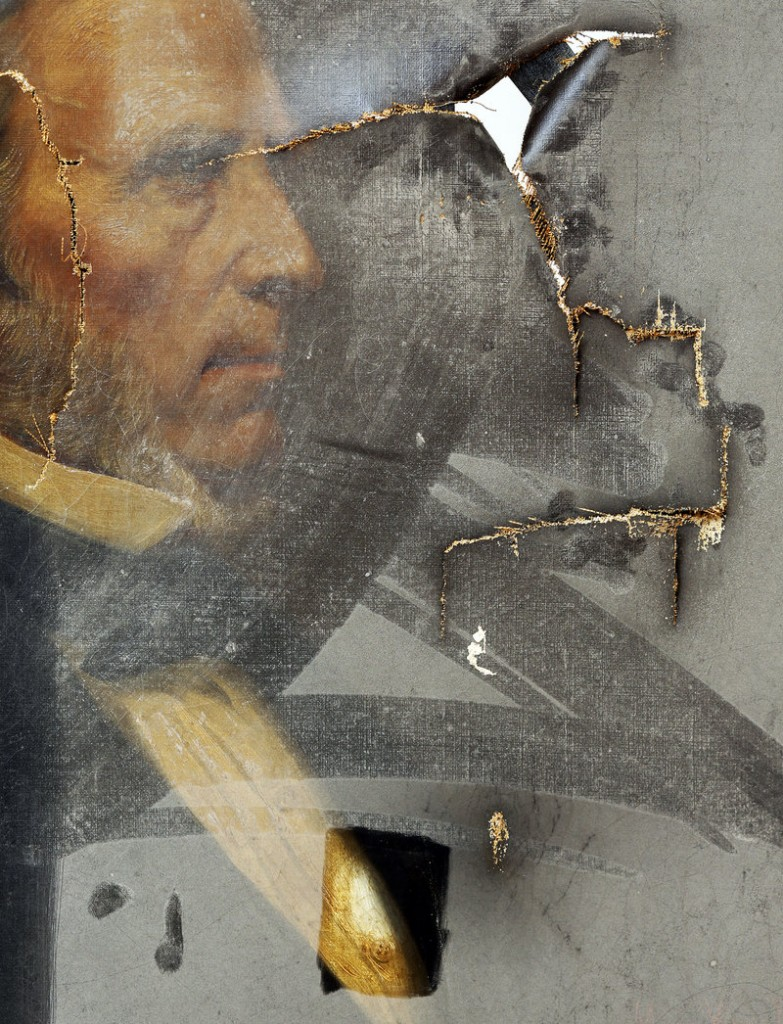 This portrait of William Pitt Fessenden, a former U.S. representative, senator and treasury secretary for President Lincoln, was recently found in the attic of Portland City Hall. It, along a about a dozen other paintings, will be restored by the Maine Project for Fine Art Conservation at no cost to the city.