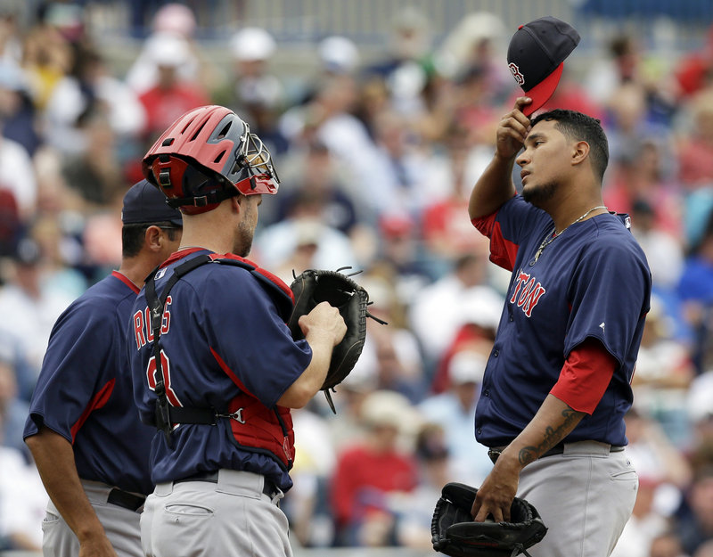 Felix Doubront, visited on the mound Wednesday by Boston catcher David Ross and pitching coach Juan Nieves, showed in a 4-0 loss to the New York Yankees that he has the ability to dominate as well as adjust when things aren't going his way.
