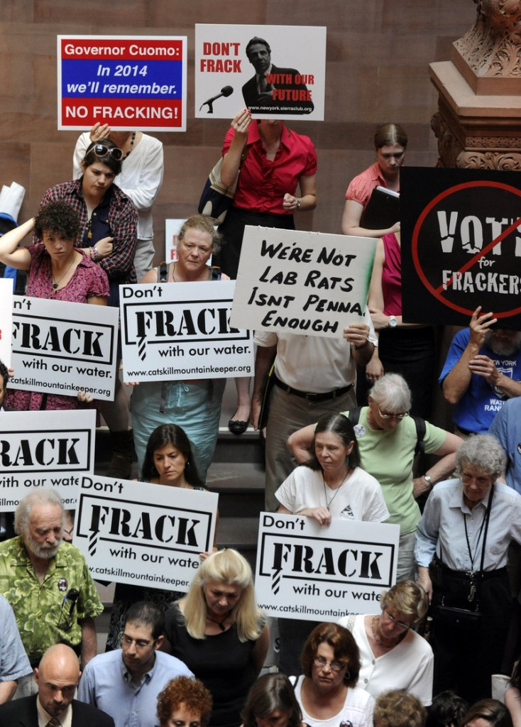 Protesters rally against the oil and gas drilling method known as hydraulic fracturing, or fracking, last June at the Capitol in Albany, N.Y. In New York, there is a fracking moratorium in effect until a health study is completed.