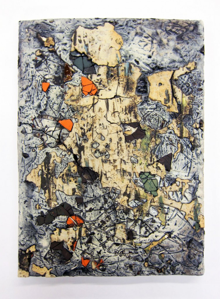 """Large Traces Tile No. 6,"" various clays, glazes and stains."