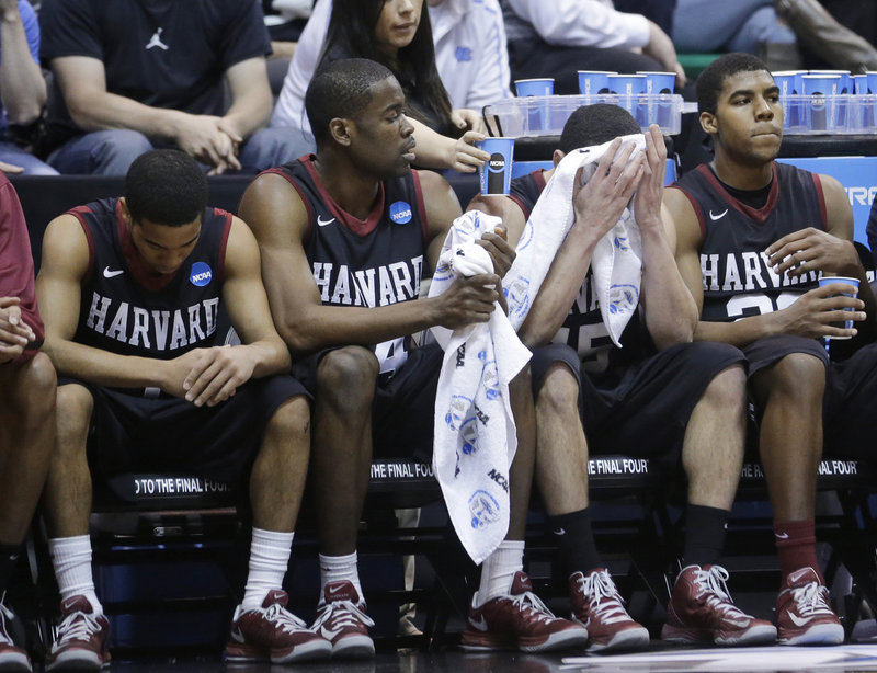 The run ended for Harvard and the faces on the players showed it. The Crimson, who upset New Mexico in their first game, were knocked off by Arizona, 74-51.