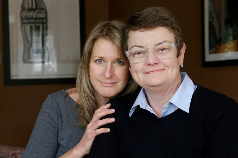 Sandy Stier, left, and Kris Perry, one of the California couples at the center of the Supreme Court's consideration of gay marriage, will attend Tuesday's court arguments.