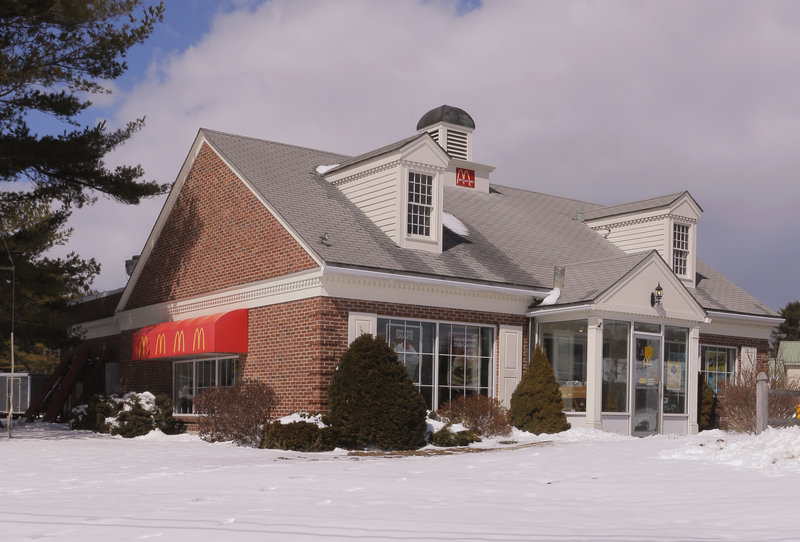 McDonald's on Route 1 in Yarmouth, where it has white shutters and gables.