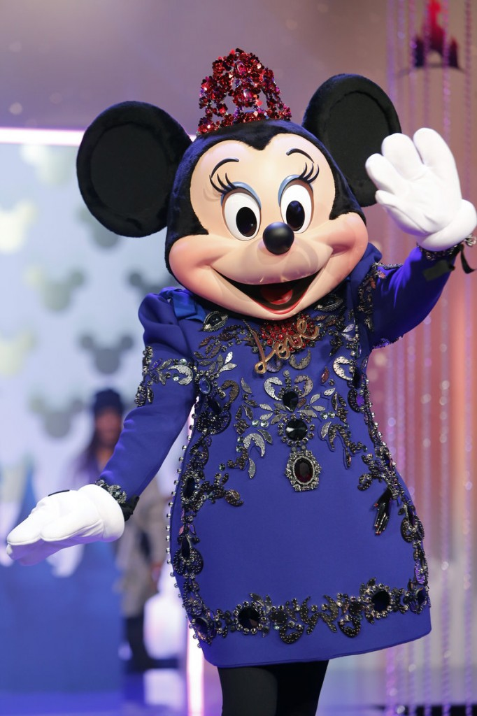 Minnie Mouse wears a designer dress by Lanvin at Disneyland Paris on Saturday.