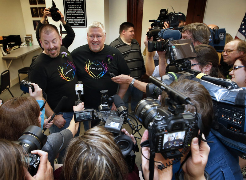 Steven Bridges and Michael Snell are the first gay couple to be married in Maine.