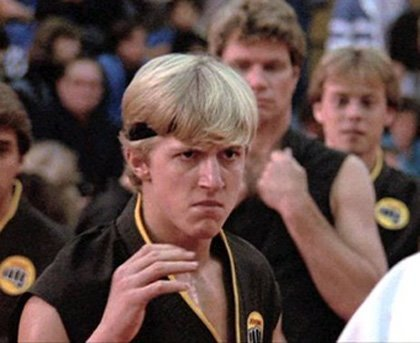 "William Zabka in ""The Karate Kid."""