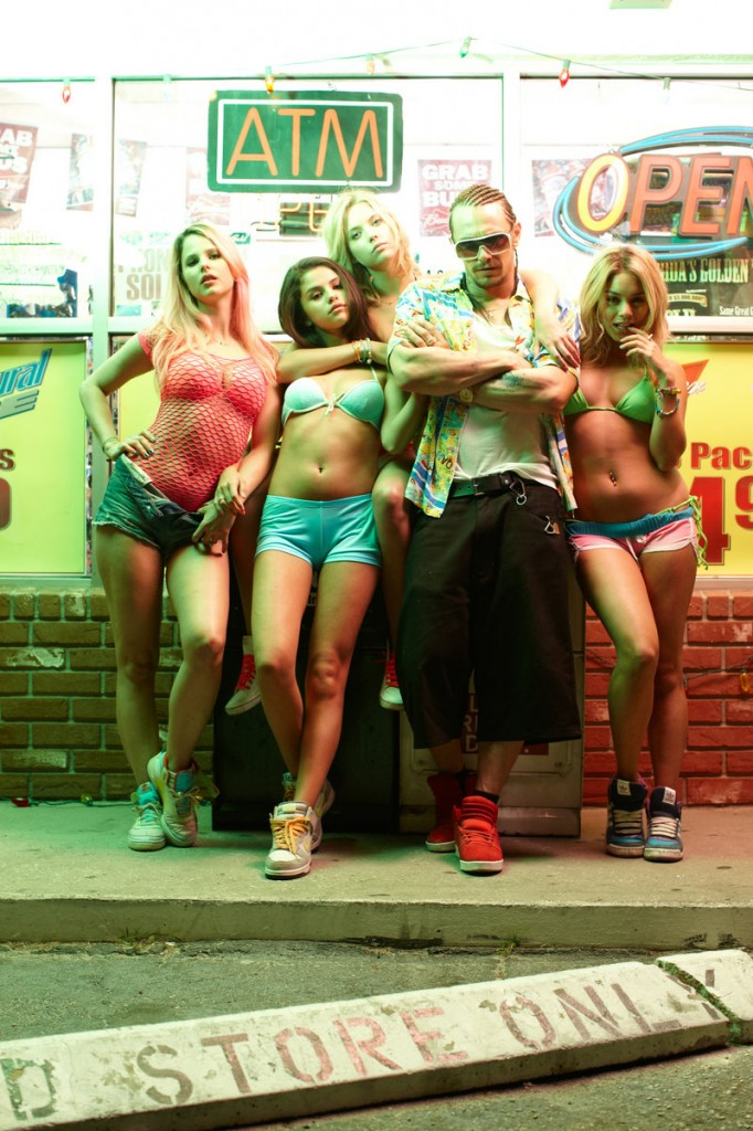 "Rachel Korine, left, Selena Gomez, Ashley Benson, James Franco and Vanessa Hudgens in ""Spring Breakers."""