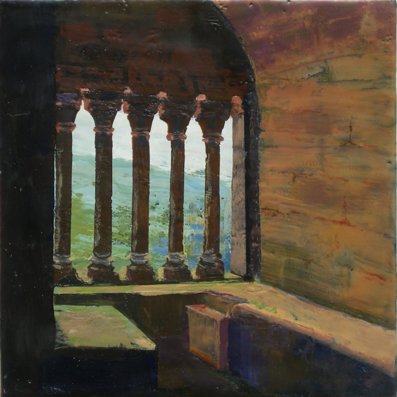 """""""Window Seat,"""" by Cheslye Ventimiglia, from """"Perigord: Moods and Memory,"""" the exhibition of her encaustic paintings continuing through April 30 at Daunis Fine Jewelry in Portland."""