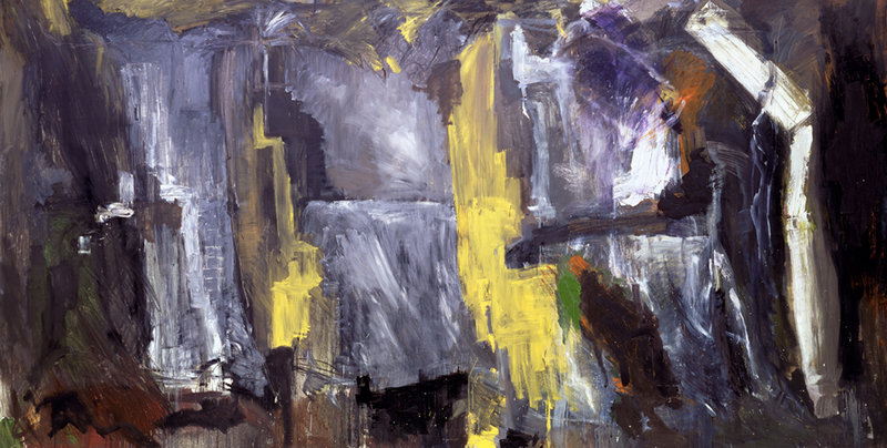 """""""Earthquake,"""" oil on canvas by Per Kirkeby, from the retrospective of his paintings and sculpture continuing through July 14 at the Bowdoin College Museum of Art in Brunswick."""