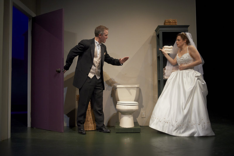 "Tim (Torsten Hillhouse) tries to talk his bride-to-be Celia (Abigail Killeen) through her cold feet in ""Love/Sick."""