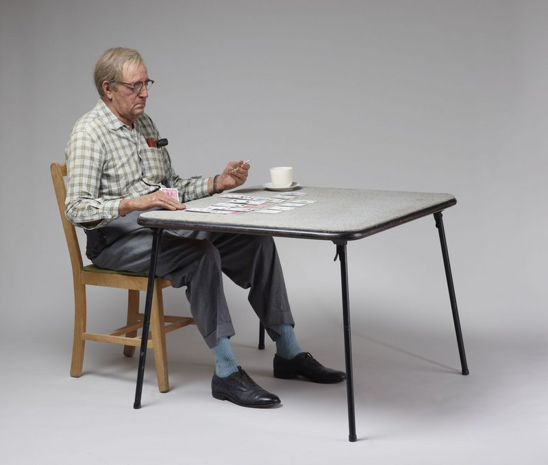"Duane Hanson's ""Old Man Playing Solitaire,"" 1973."