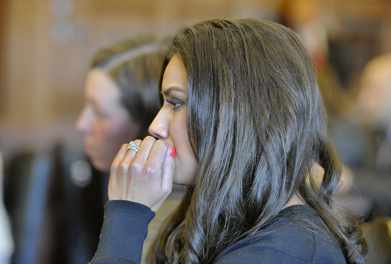 Alexis Wright appears in Cumberland County Court following an agreement on a plea bargain Friday afternoon. Wright is reacting to the judge's comments regarding possible jail time included in the deal.