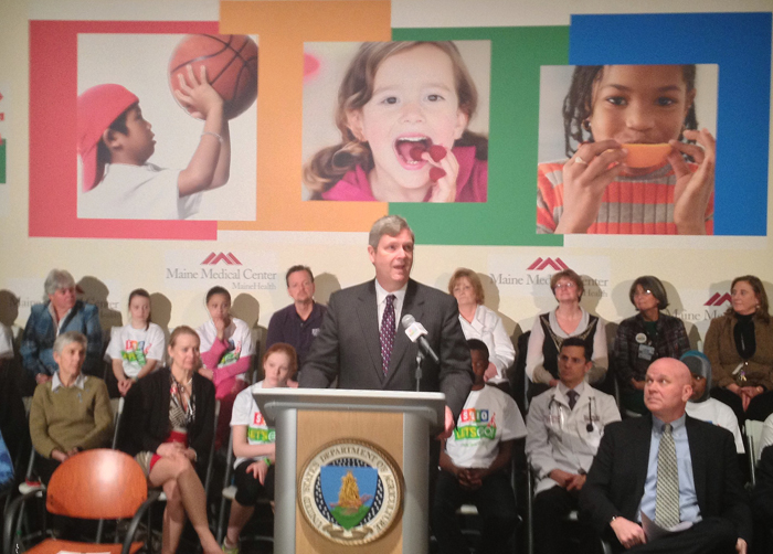 U.S. Secretary of Agriculture Tom Vilsack speaks to an audience at Maine Medical Center Thursday in Portland. Nutrition and exercise have to become