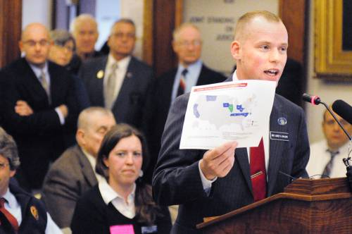 Rep. Corey Wilson, R-Augusta, introduces his bill, An Act to Ensure the Confidentiality of Concealed Weapons Permit Holder Information, March 12 at the State House in Augusta.