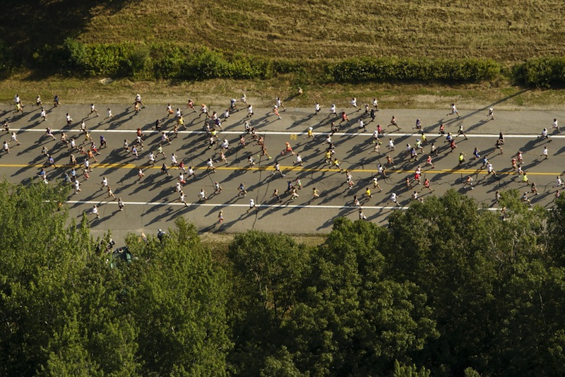 In this Aug. 4, 2012 file photo, runners compete in the Beach to Beacon 10K road race. Dave Weatherbie, president of the Beach to Beacon race, said it's too early to talk about any extra security measures that might be added to the 2013 event following the Boston Marathon bombings.
