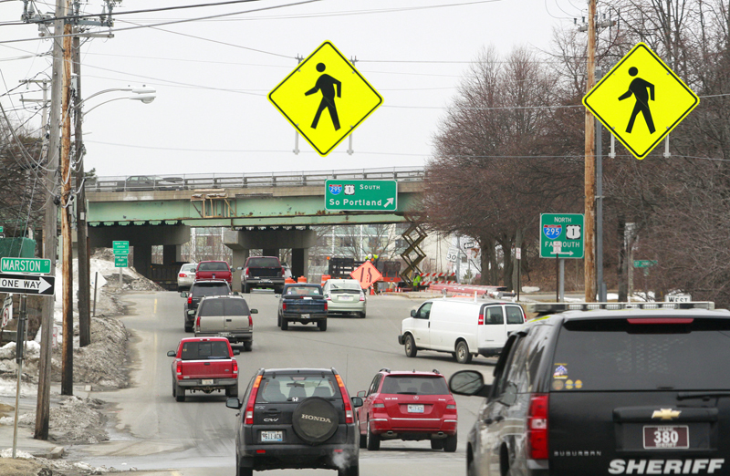 The Libbytown section of Portland, looking up Park Avenue toward the I-295 overpass.