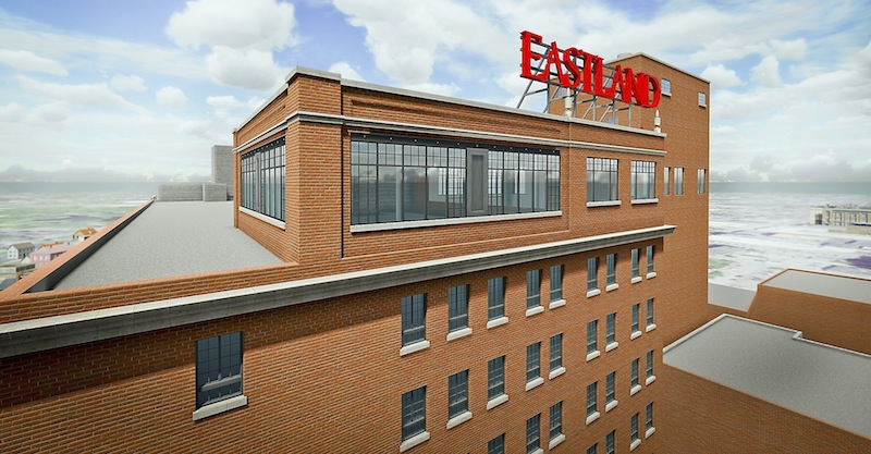 """This is the artist rendering of the completed """"Top of the East"""" expansion, doubling the size and the views of the surrounding Greater Portland areas. The Eastland sign will remain, demanded by the Portland City Council, but the hotel will be called the Westin Portland Harborview Hotel."""