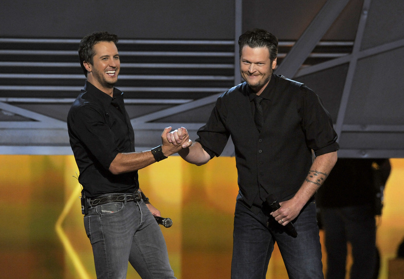 Luke Bryan, left, with Blake Shelton on stage at the 48th Annual Academy of Country Music Awards at the MGM Grand Garden Arena in Las Vegas on Sunday