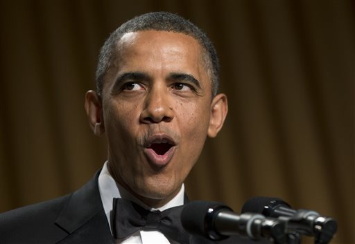 President Barack Obama speaks at the White House Correspondents' Association Dinner at the Washington Hilton Hotel Saturday.